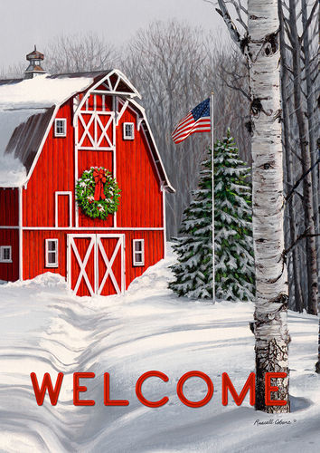 Welcome Winter Barn Garden Flag