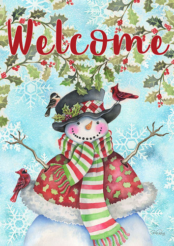 Holly Snowman Welcome Garden Flag
