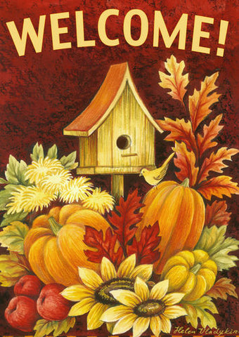 Fall Birdhouse Garden Flag (Double-Sided Text)