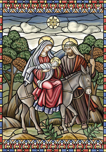 Stained Glass Nativity Garden Flag