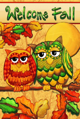 Fall Owls Garden Flag