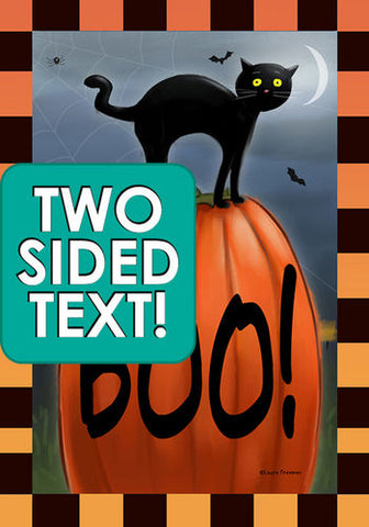 Boo Cat Garden Flag (Two Sided Text)