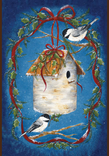 House of Chickadees Garden Flag