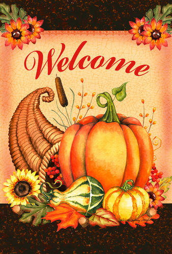 Welcome Cornucopia Garden Flag (Double-Sided Text)