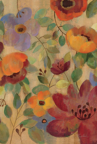 Oil Painted Poppies And Lilies Garden Flag