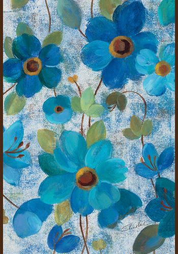 Oil Painted Blue Poppies and Lilies Garden Flag