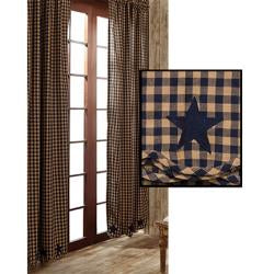 Navy Star Scalloped Curtains - 2/Set