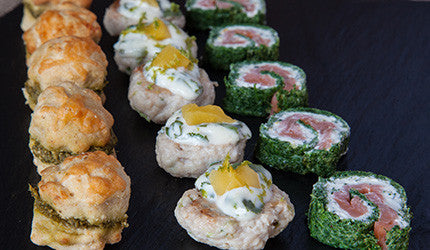 Spinach smoked trout herbed cream roulade east neuk cooks for Smoked trout canape