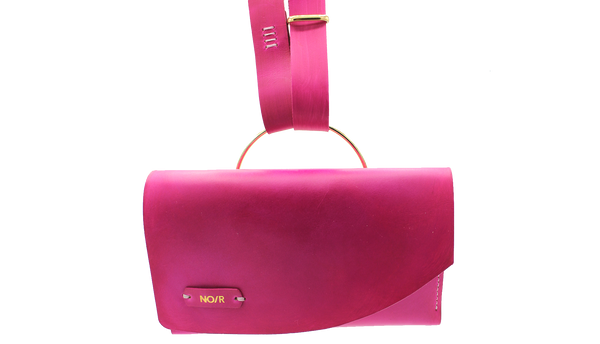 Norehearsal Go Bag! in cCrimson pink with Gold logo lettering
