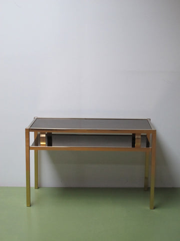 Console doré seventies stilnovo Maison Jansen Baguès Charles Rizzo Willy glamour vintage seventies guy lefevre Romeo Rega midcentury gold laiton