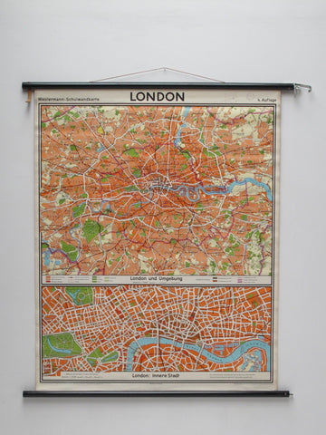 Carte géographie vintage Londres London map city midcentury annees design decoration toile ancienne deco eames