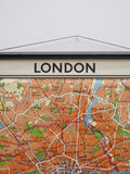 Carte géographie vintage Londres London city midcentury annees design loft decoration toile ancienne elle deco eames