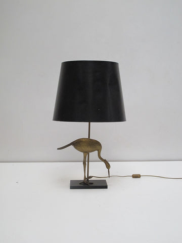 Lampe style maison Jansen Charles Vintage Heron doré années design glamour seventies hollywood Gold laiton scandinave lupanar