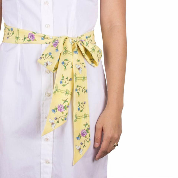 Arete Goods Bamboo & Butterfly Silk Sash. Shop online peranakan inspired bamboo and butterfly sash made of silk twill printed in Como, Italy with a soft madder finish. Made in Singapore. International shipping.