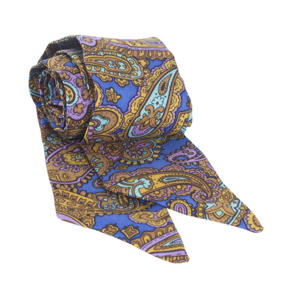 Pezuri Paisley Silk Sash in Cobalt. Shop online cobalt blue paisley sash made of silk twill printed in Como, Italy with a soft madder finish. Made in Singapore. International shipping.