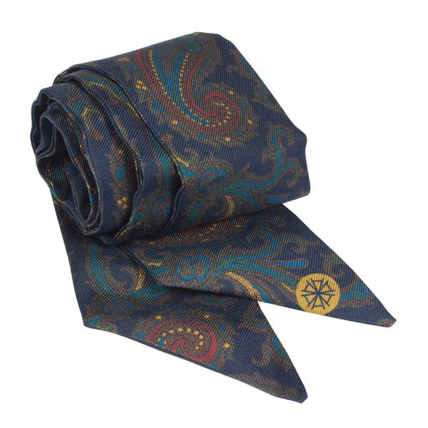 Pezuri Paisley Silk Sash in Navy. Shop online navy paisley sash made of silk twill printed in Como, Italy with a soft madder finish. Designed and made in Singapore. International shipping.