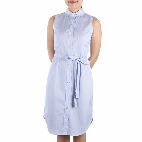 Marui Sleeveless Shirtdress in Blue-White Striped Cotton Poplin. Shop online sleeveless shirtdress in blue-white striped cotton poplin with club collar, waist darts and a removable sash. Made in Singapore. International shipping.