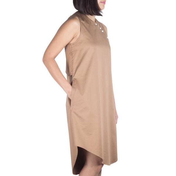 Shop online cheongsam-inspired dress with asymmetrical curved hem, made of Japanese cotton tencel in hazel. Designed and made in Singapore. International shipping.