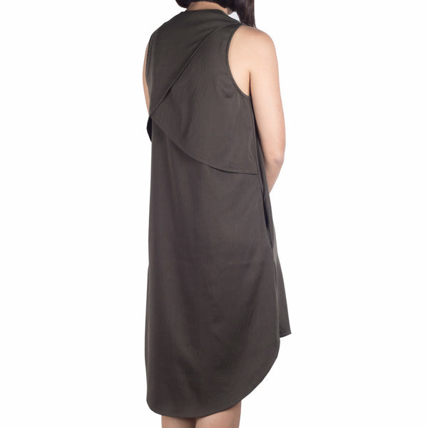 Shop online cheongsam-inspired dress with asymmetrical curved hem, made of Japanese cotton tencel in olive. Made in Singapore. International shipping.