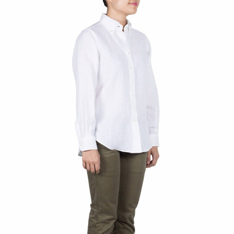 Nami Shirt in White Linen. Shop online button-down collar shirt with a comfortably relaxed fit, made from breathable, quick-drying white linen. Made in Singapore. International shipping.