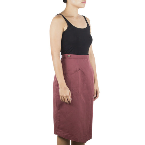 Shop online wrap skirt with pencil-skirt silhouette, cut from Italian cotton linen in an earthy red hue. Designed & made in Singapore. International shipping.
