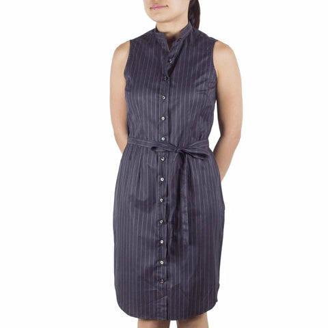 Bando Sleeveless Shirtdress in Grey Pinstriped Cotton. Shop online sleeveless shirtdress in Italian grey pinstriped cotton with band collar, waist darts and removable sash. Designed and made in Singapore. International shipping.