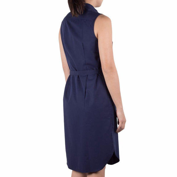 Bando Sleeveless Shirtdress in Navy Cotton Tencel. Shop online sleeveless shirtdress in Japanese navy cotton tencel with band collar, waist darts and removable sash. Designed and made in Singapore. International shipping.