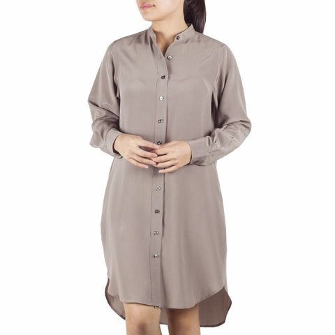 Bando Sleeved Shirtdress in Taupe Silk. Shop online sleeved shirtdress in taupe silk crepe de chine with band collar, relaxed fit. Designed in Singapore and made in China. International shipping.