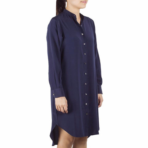Bando Sleeved Shirtdress in Navy Silk. Shop online sleeved shirtdress in navy silk crepe de chine with band collar, relaxed fit. Designed in Singapore and made in China. International shipping.