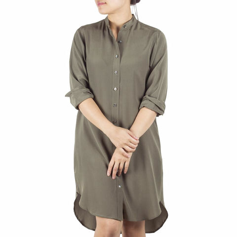 Bando Sleeved Shirtdress in Olive Silk. Shop online sleeved shirtdress in olive silk crepe de chine with band collar, relaxed fit. Designed in Singapore and made in China. International shipping.