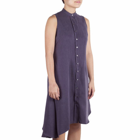 Bando Side Drape Shirtdress in Charcoal Tencel. Shop online sleeveless shirtdress in Japanese grey tencel with band collar, asymmetrical hem and waist darts. Designed and made in Singapore. International shipping.
