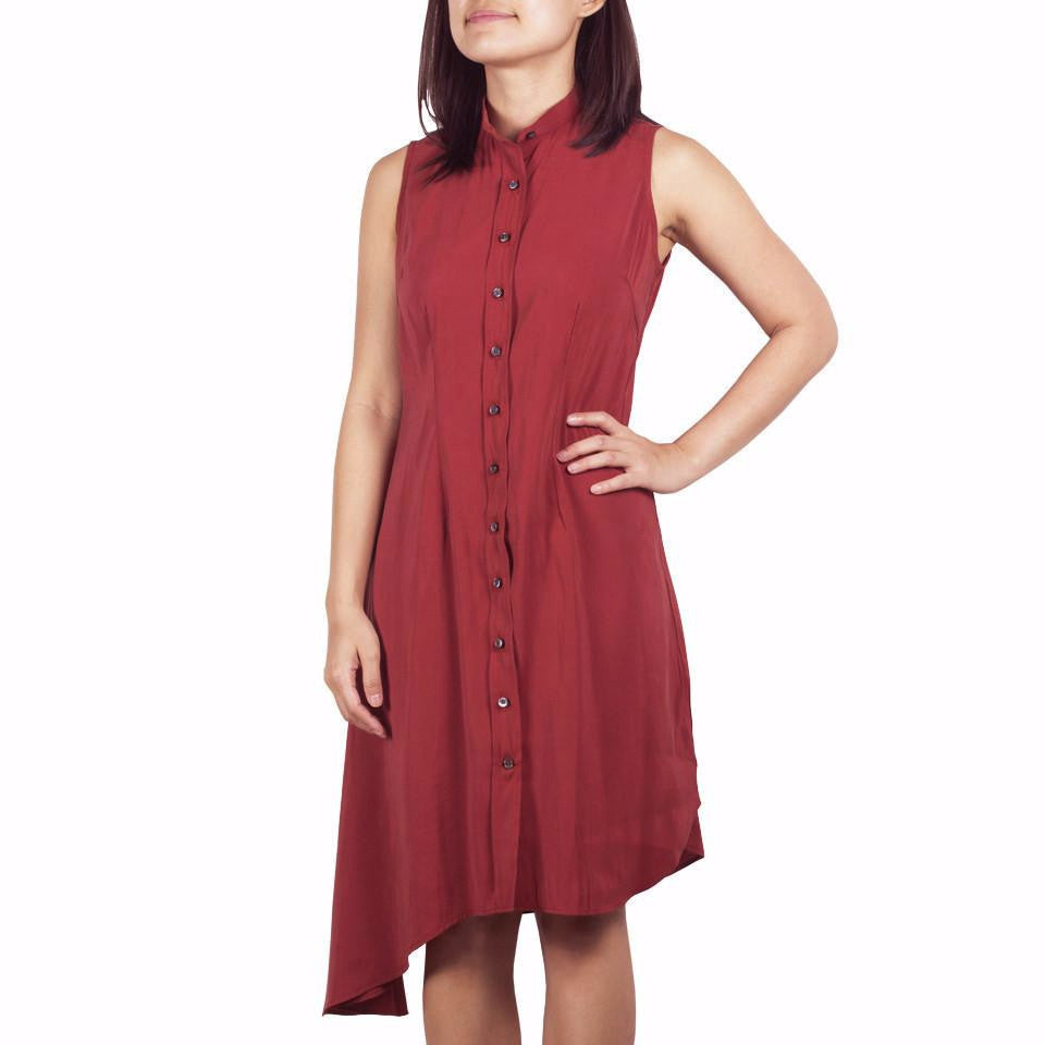 Bando Side Drape Shirtdress in Brick Cupro. Shop online sleeveless shirtdress in Japanese red orange cupro with band collar, asymmetrical hem and waist darts. Designed and made in Singapore. International shipping.