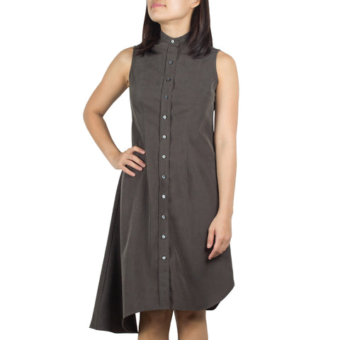Bando Side Drape Shirtdress in Dark Olive Tencel Chambray. Shop online sleeveless shirtdress in Japanese dark olive tencel chambray with band collar, asymmetrical hem and waist darts. Designed and made in Singapore. International shipping.