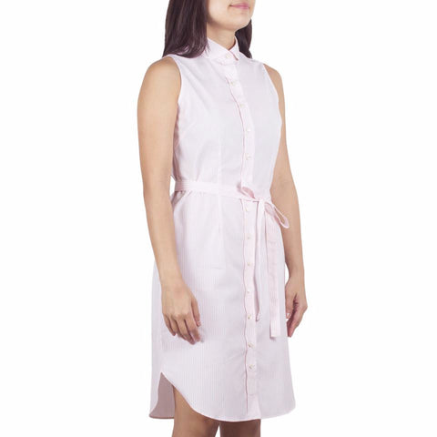 Marui Sleeveless Shirtdress in Pink-White Striped Cotton Poplin. Shop online sleeveless shirtdress in pink-white striped cotton poplin with club collar, waist darts and a removable sash. Designed and made in Singapore. International shipping.