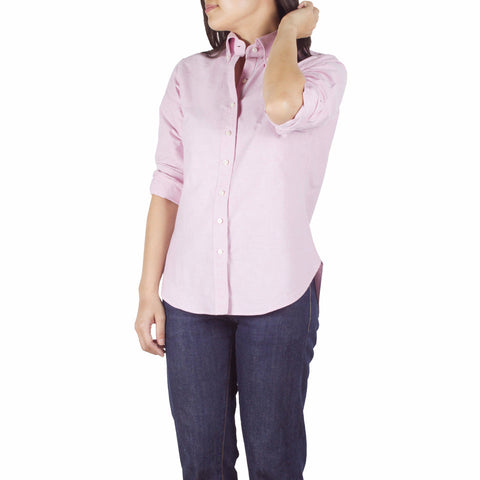 Nami Shirt in Pink Cotton Oxford Selvedge. Shop online button-down collar shirt with a comfortably relaxed fit, made from structured pink cotton oxford from Japan. Designed and made in Singapore. International shipping.