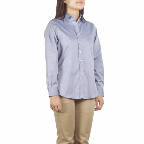 Shop online point collar shirt with a comfortably relaxed fit, made from navy-white dots cotton pin point from Italy. Made in Singapore. International shipping.