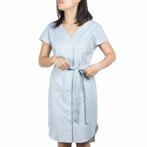 Made-to-Order V-Neck Shirtdress Plains