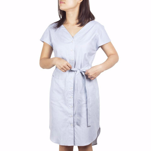 Shop online V-neck shirtdress in Italian blue-green checked cotton poplin with curved hem and removable sash. Made in Singapore. International shipping.