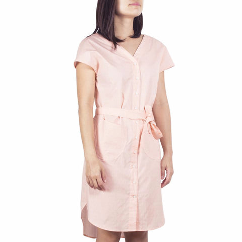 Shop online V-neck shirtdress in Italian small orange prints cotton poplin with curved hem and removable sash. Made in Singapore. International shipping.