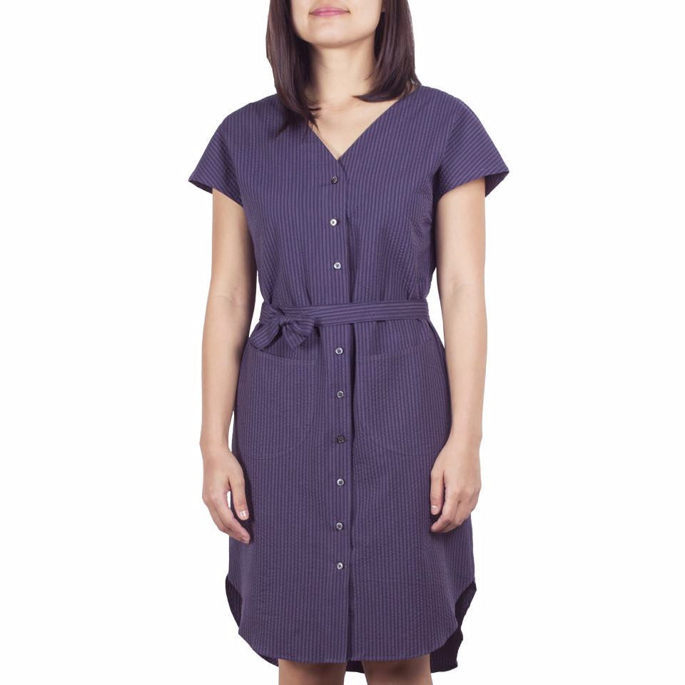 V-Neck Shirtdress in Cotton Seersucker