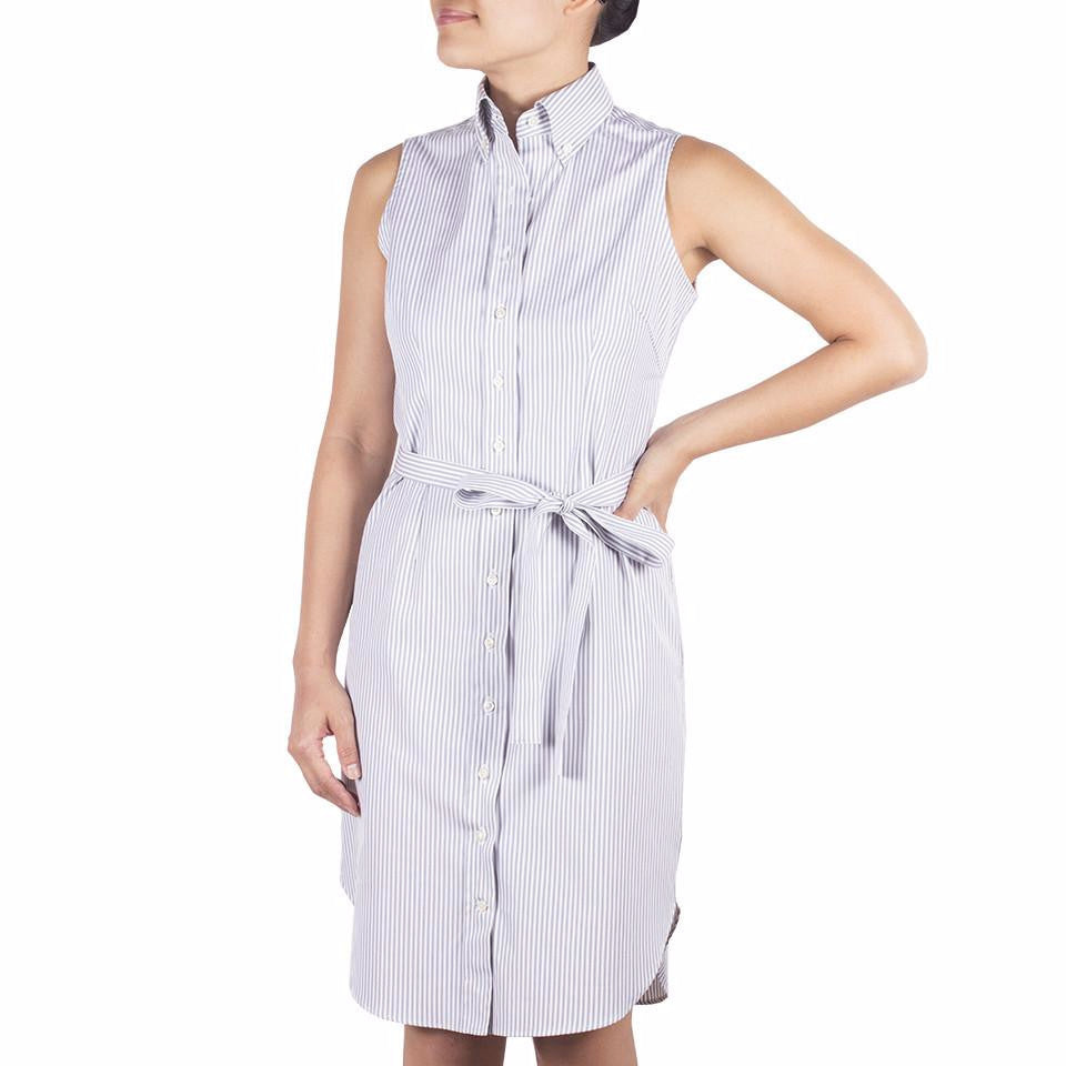 Nami Sleeveless Shirtdress in Cotton Oxford
