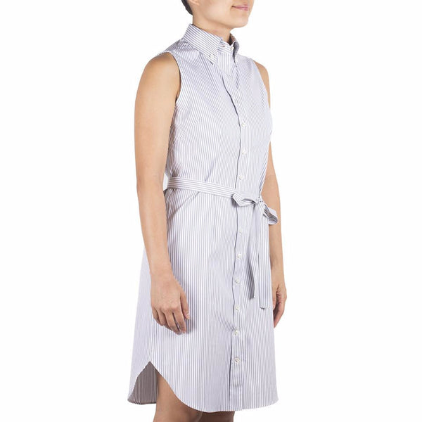 Nami Sleeveless Shirtdress in Grey-White Striped Cotton Oxford. Shop online sleeveless shirtdress in grey-white striped cotton oxford with button-down collar, waist darts and a removable sash. Designed and made in Singapore. International shipping.