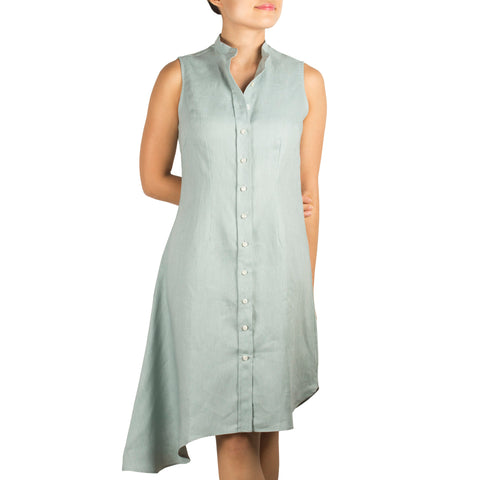 Arete Goods Bando Side Drape Shirtdress in Cool Mint Linen. Shop online sleeveless shirtdress in cool mint linen with band collar, asymmetrical hem and waist darts. Designed and made in Singapore. International shipping.