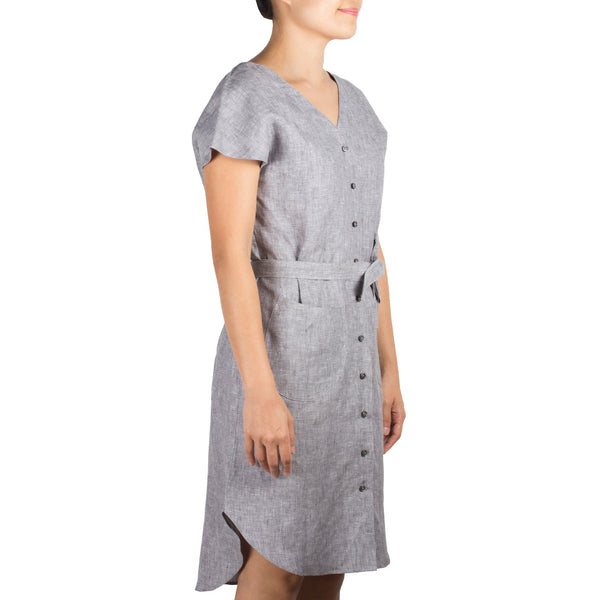 Arete Goods V-Neck Shirtdress in Grey Melange Linen. Shop online V-neck shirtdress in grey melange linen with curved hem and sash. Designed and made in Singapore. International shipping.