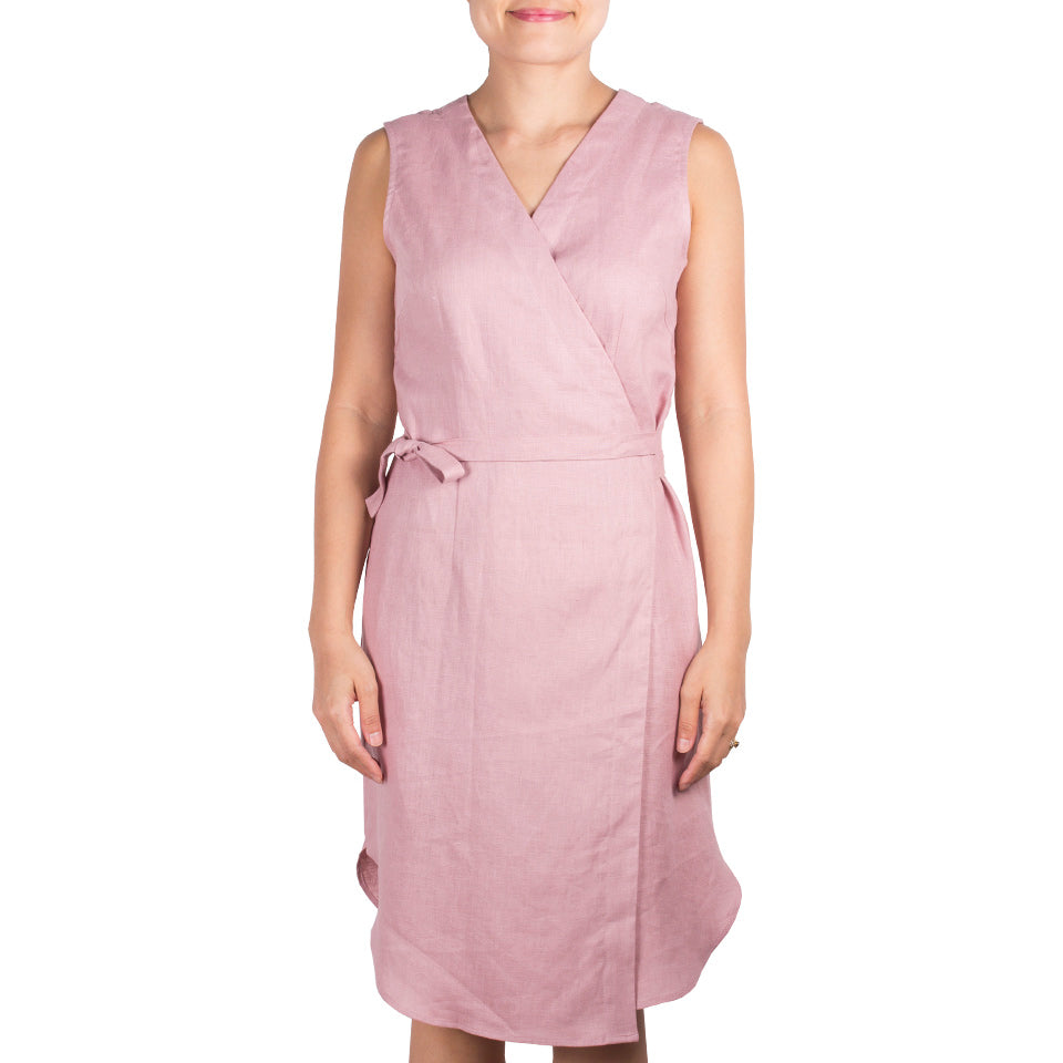 Arete Goods Wrap Dress in Dusty Pink Linen. Shop online sleeveless wrap dress in soft dusty pink linen, with self-tie at waist and flattering v front. Drapes elegantly. Made in Singapore.