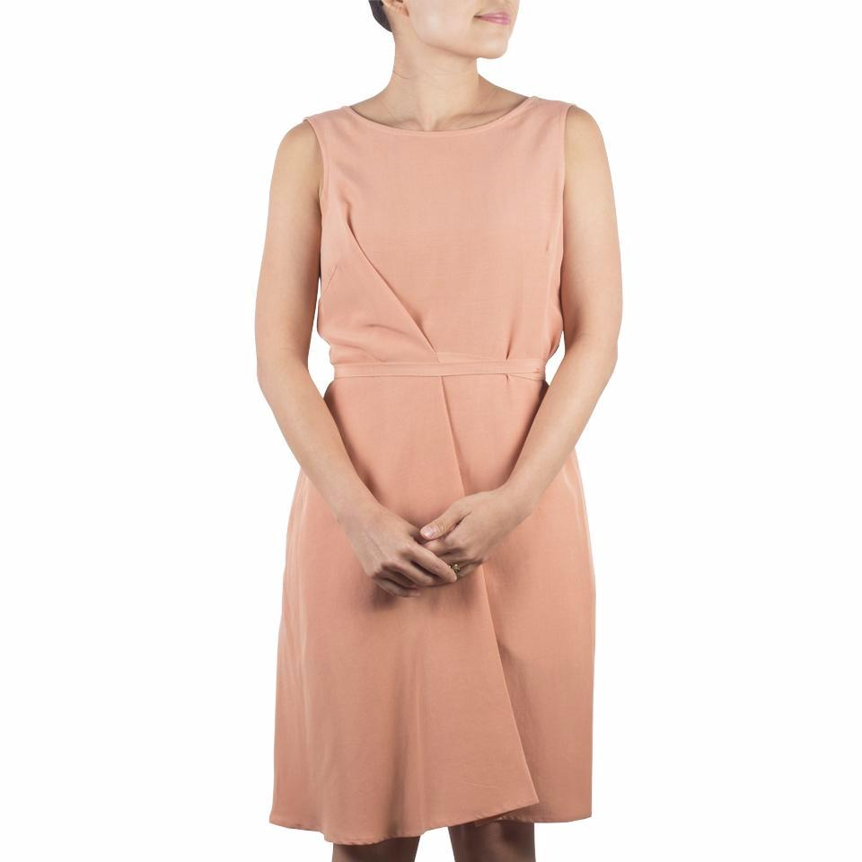 Arete Goods Everyday Dress in Apricot Tencel. Shop online minimal dress in luxuriously soft Japanese tencel, with self-tie at waist and flattering boat neckline. Drapes elegantly. Made in Singapore.