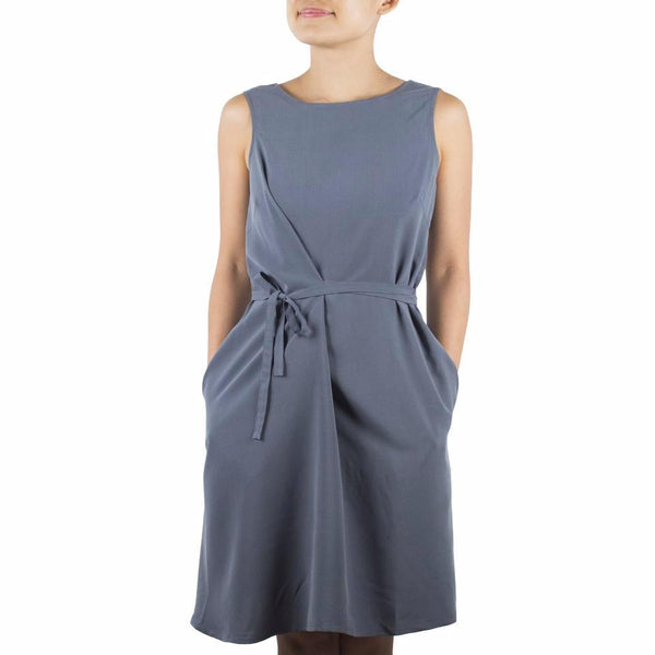 Arete Goods Everyday dress in Steel Blue Tencel Cupro. Shop online minimal dress in luxuriously soft Japanese tencel cupro, with self-tie at waist and flattering boat neckline. Drapes elegantly. Made in Singapore.