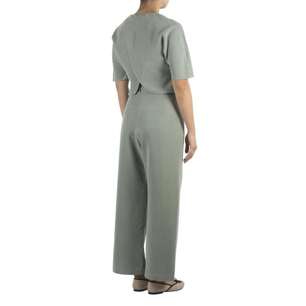 Wide-leg Pants in Pale Olive Tencel Cotton Rayon. Shop online wide-leg pants in Japanese mint tencel cotton rayon with relaxed-fit silhouette. Made in Singapore, international shipping.