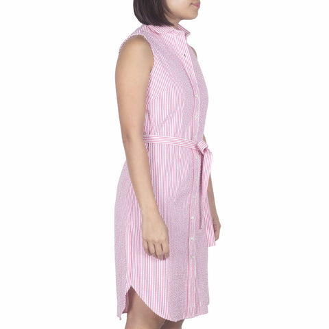 Marui Sleeveless Shirtdress in Pink-White Striped Cotton Seersucker. Shop online sleeveless shirtdress in Japanese pink-white striped cotton seersucker with round club collar, waist darts and a removable sash. Designed and made in Singapore. International shipping.