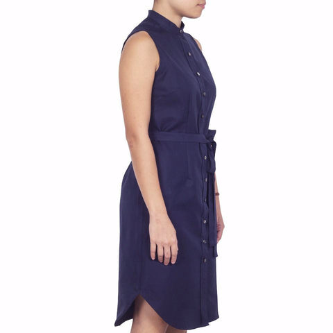Bando Sleeveless Shirtdress in Navy Silk Cotton. Shop online sleeveless shirtdress in Italian silk cotton with band collar, waist darts and removable sash. Designed and made in Singapore. International shipping.